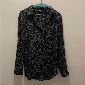 Graphic Patterned Long Sleeve Button Down Blouse